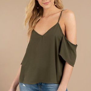 TOBI Amberly Cold Shoulder Top SMALL S Olive 1764
